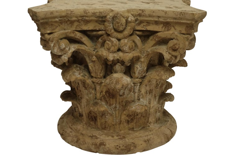 Classical Greek Faux Stone Architectural Column Capital Low Table For Sale