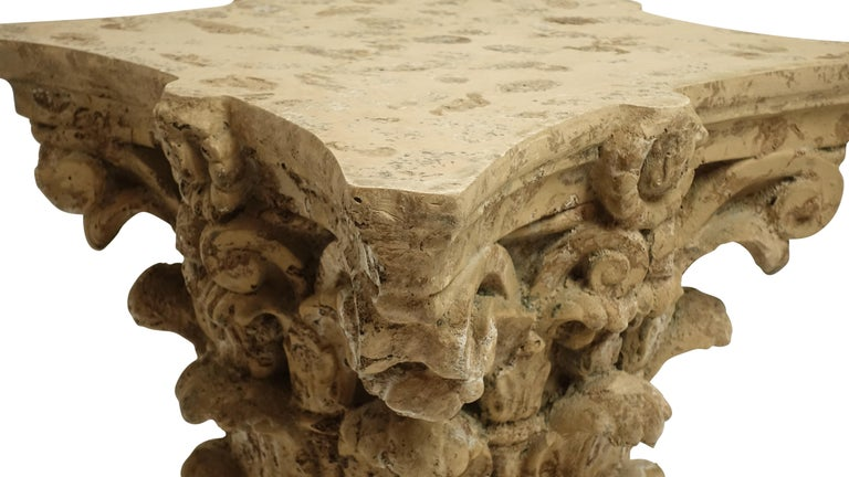 Faux Stone Architectural Column Capital Low Table For Sale 1