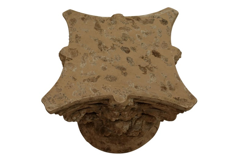 20th Century Faux Stone Architectural Column Capital Low Table For Sale