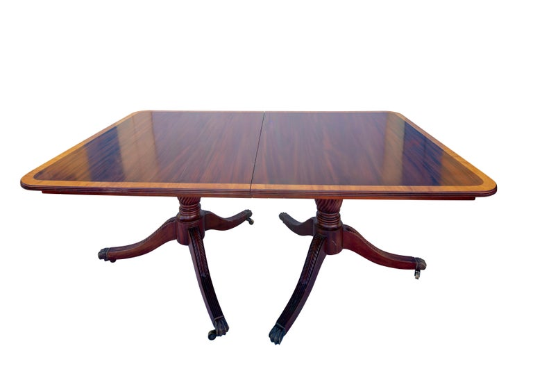 Inlay English George III Mahogany Banquet Dining Table, Early 19th Century For Sale