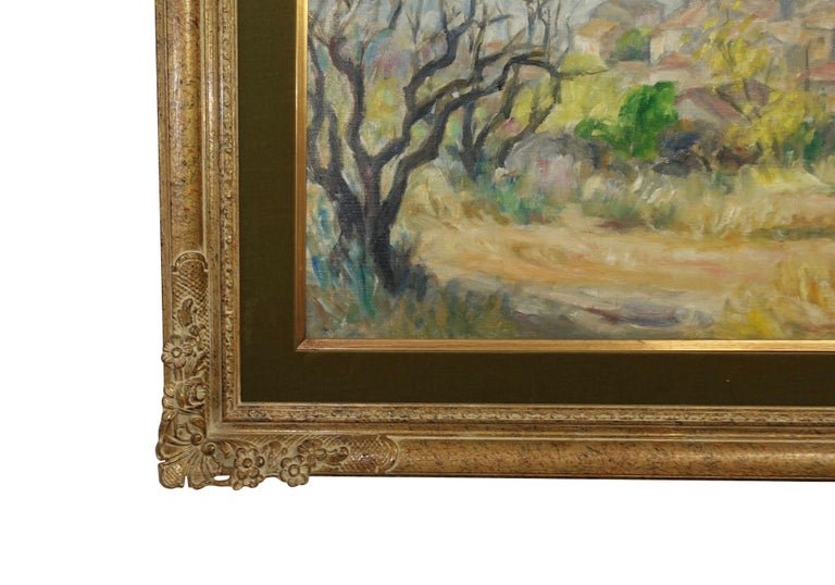 French Impressionist Landscape Painting, Signed Bret Andre, 1952 In Good Condition For Sale In San Francisco, CA