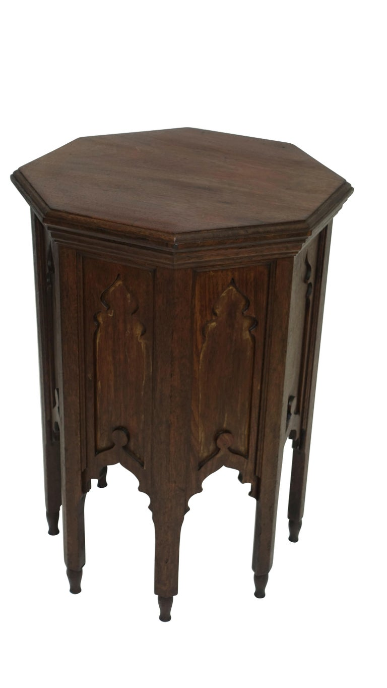 Carved Moroccan Taboret Side Table, Early 20th Century For Sale