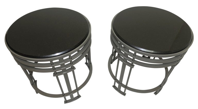 Mid-Century Modern Pair of Streamline Modern Side Tables with Granite, American, Mid-20th Century For Sale