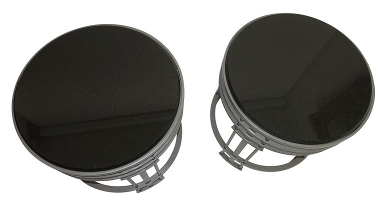 Pair of Streamline Modern Side Tables with Granite, American, Mid-20th Century For Sale 1