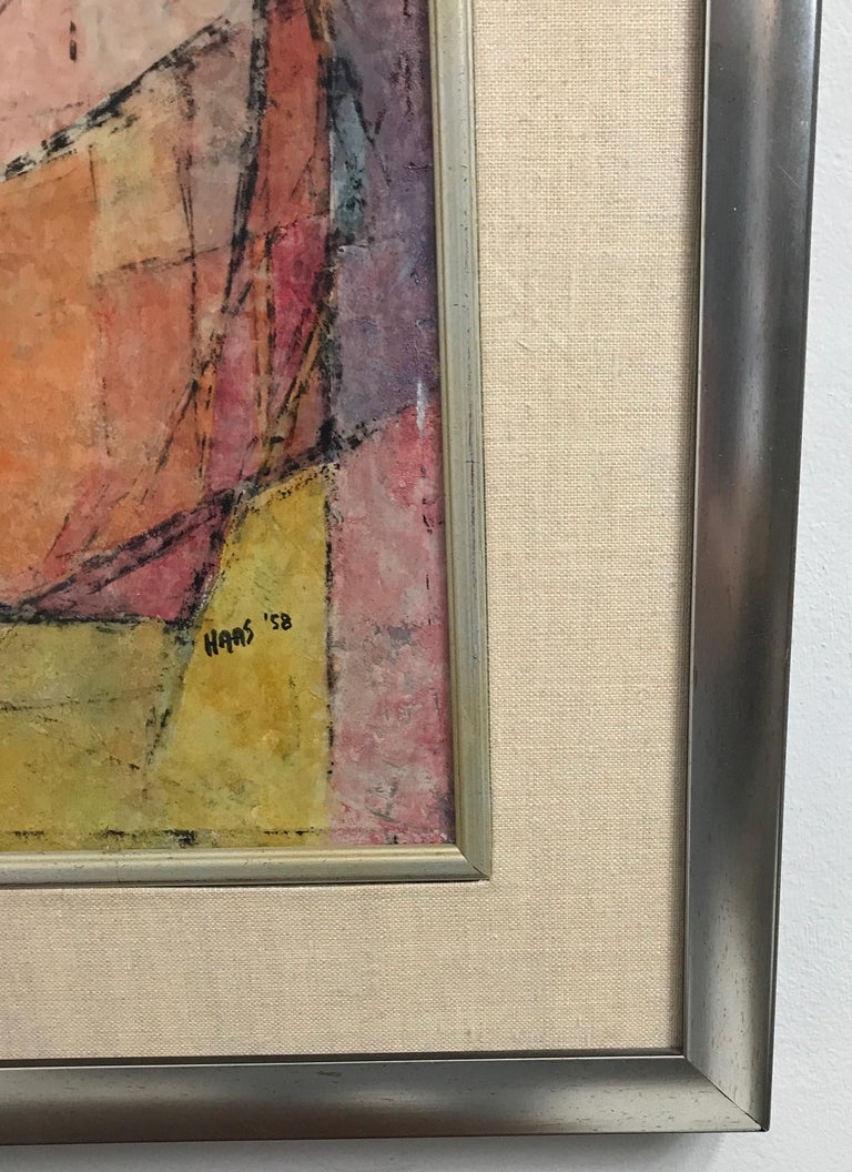 Modern Abstract Figural Casein on Panel by Hildegarde Haas, Titled Picnic For Sale