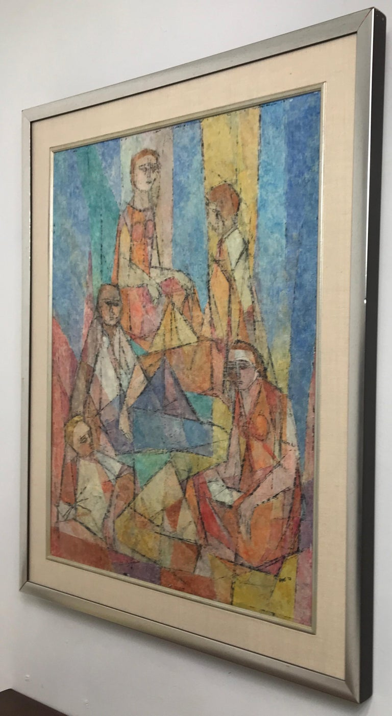 Paint Abstract Figural Casein on Panel by Hildegarde Haas, Titled Picnic For Sale
