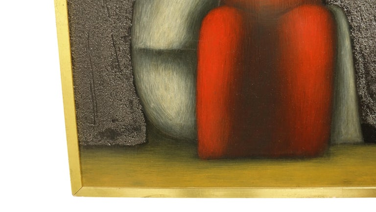 Mexican Midcentury Cubist Style Figural Painting, Signed and Dated 1965 For Sale