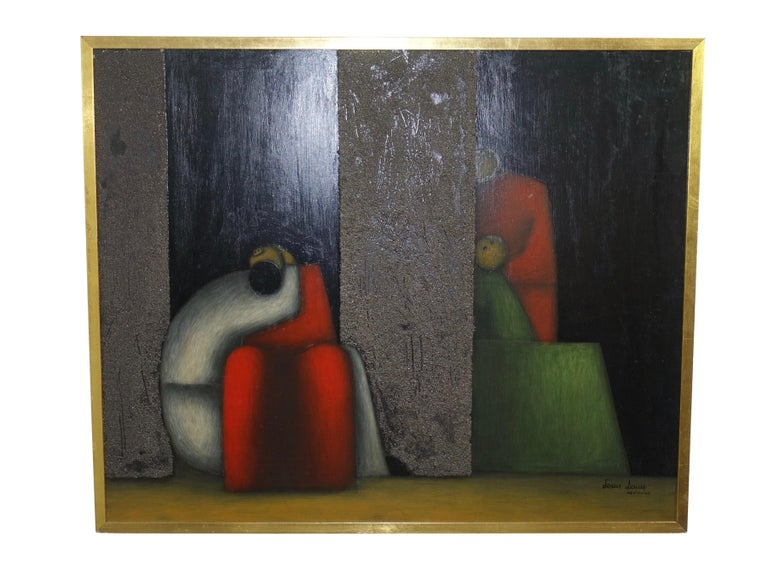 Midcentury Cubist Style Figural Painting, Signed and Dated 1965 In Good Condition For Sale In San Francisco, CA