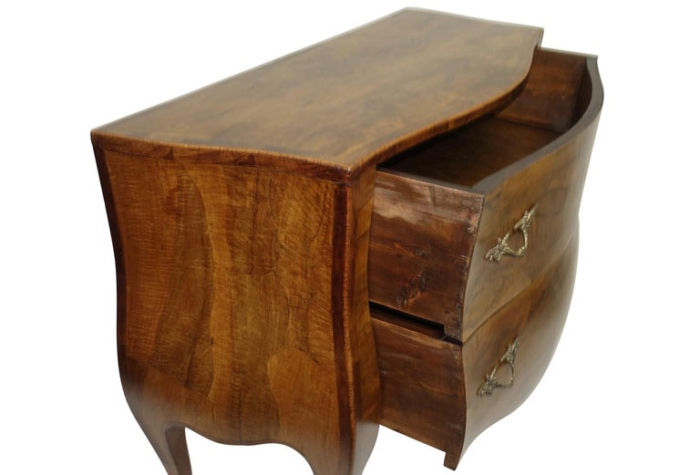 Rococo Style Olive Wood and Walnut Chest of Drawers, Italian For Sale 5
