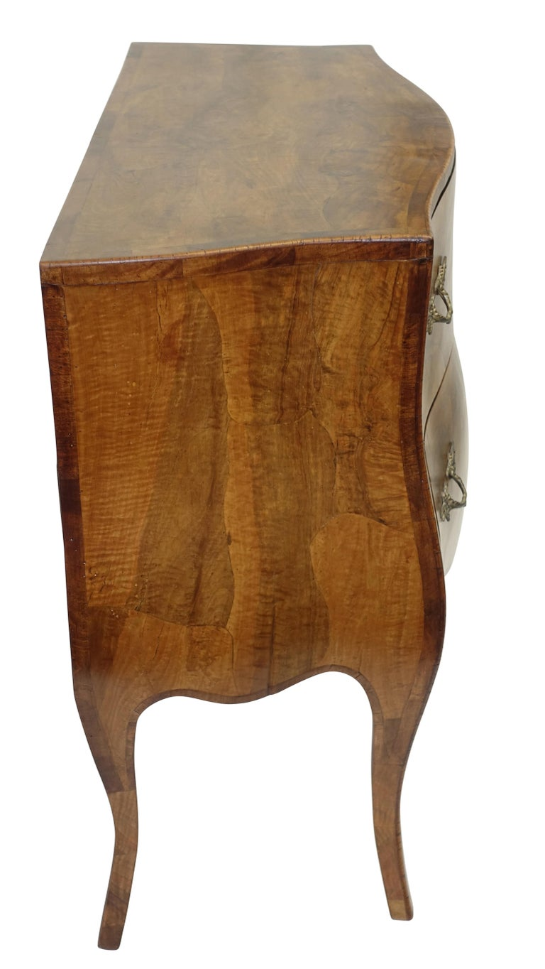 Rococo Style Olive Wood and Walnut Chest of Drawers, Italian For Sale 1