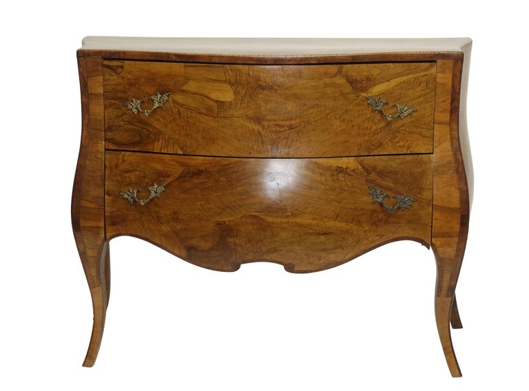 Rococo Style Olive Wood and Walnut Chest of Drawers, Italian For Sale 6