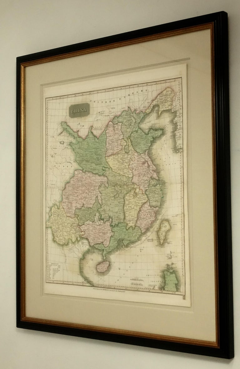 European Framed Early 19th Century Drawn and Engraved Map of China For Sale
