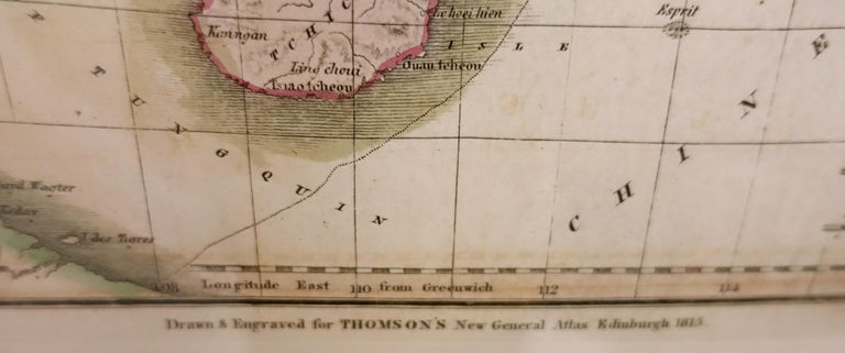 Hand drawn and tinted engraved map of China dated 1815  Created for Thomson's New General Atlas Edinburgh Beautifully framed with a linen covered mat.