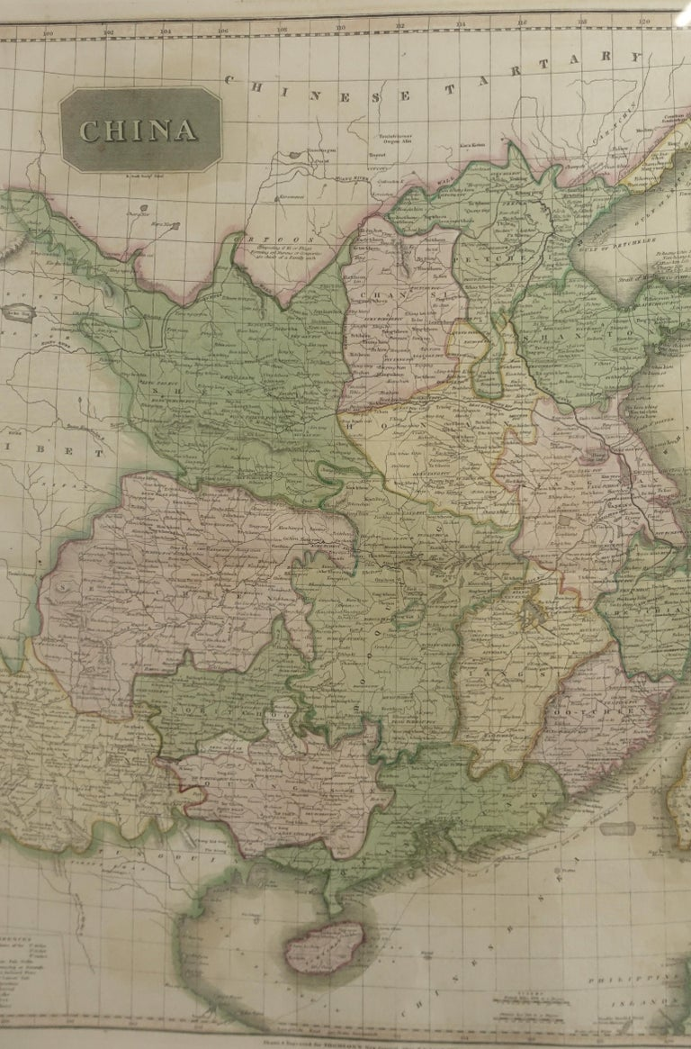 Paper Framed Early 19th Century Drawn and Engraved Map of China For Sale