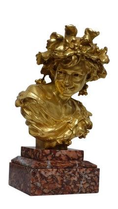 Gilt Bronze Bacchus Bust on Rouge Marble, Jean Batiste Carpeaux, 19th Century