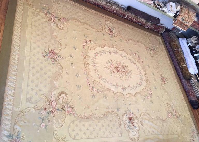 20th Century Antique French Aubusson Carpet For Sale