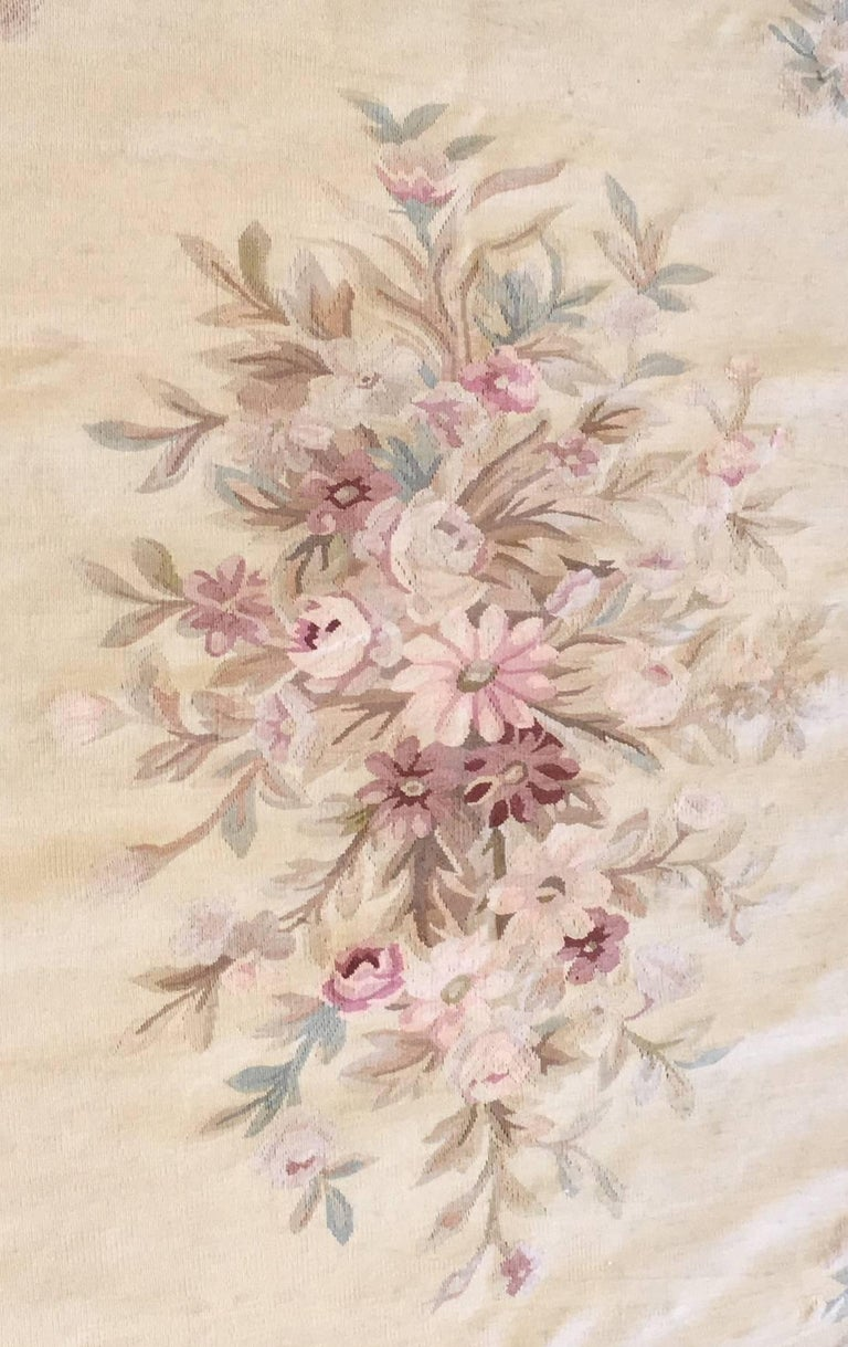 Woven Antique French Aubusson Carpet For Sale
