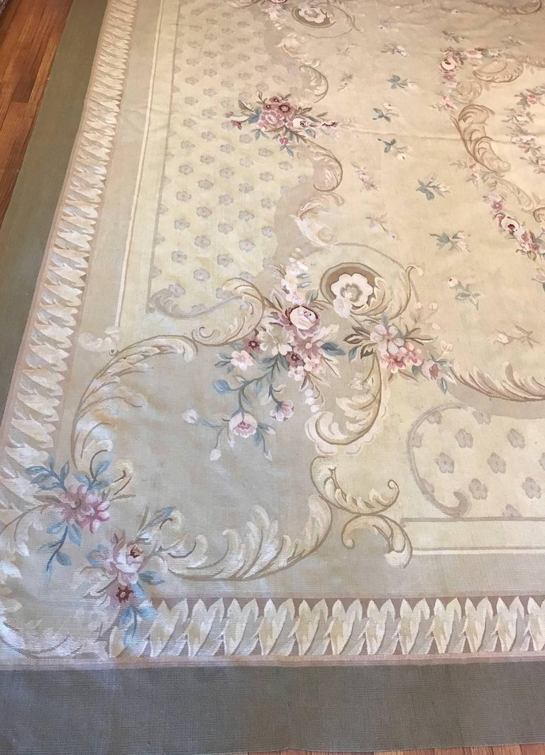 Wool Antique French Aubusson Carpet For Sale