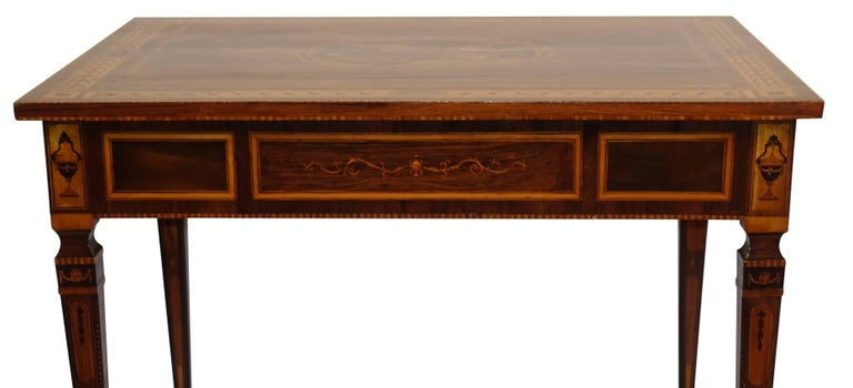 Mixed Woods Marquetry Inlaid Writing Table, Northern Italian, Late 18th Century For Sale 1