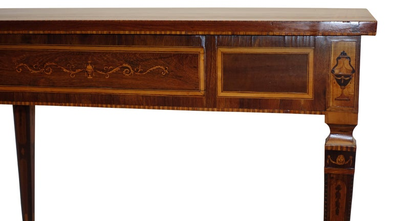 Mixed Woods Marquetry Inlaid Writing Table, Northern Italian, Late 18th Century For Sale 2