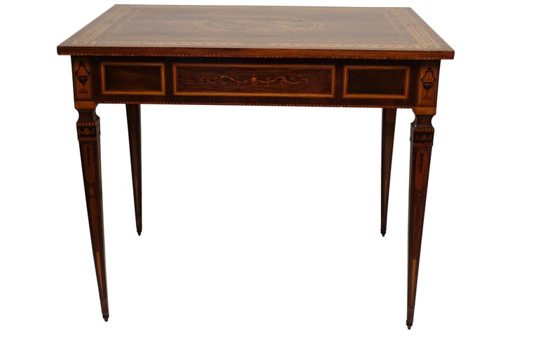 Mixed Woods Marquetry Inlaid Writing Table, Northern Italian, Late 18th Century For Sale 5