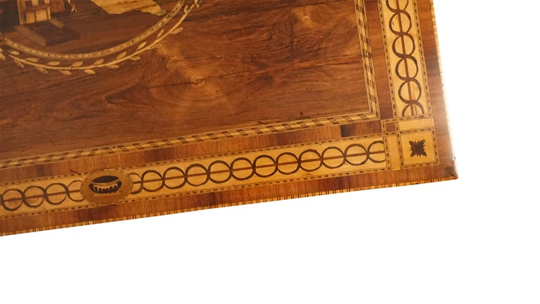 Mixed Woods Marquetry Inlaid Writing Table, Northern Italian, Late 18th Century For Sale 6