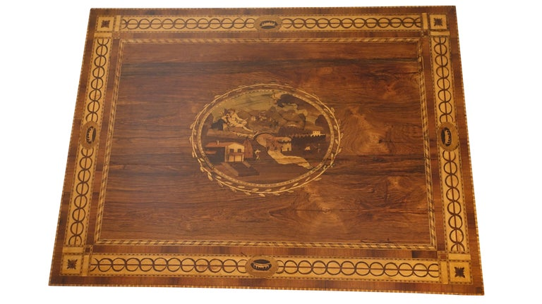 Mixed Woods Marquetry Inlaid Writing Table, Northern Italian, Late 18th Century For Sale 11