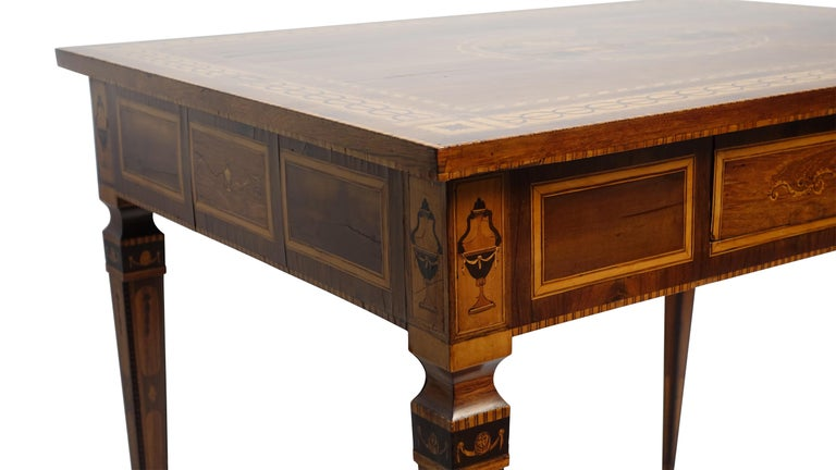Mixed Woods Marquetry Inlaid Writing Table, Northern Italian, Late 18th Century For Sale 10