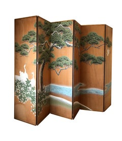 Hand Painted Japanese Inspired Screen by artist Robert Crowder