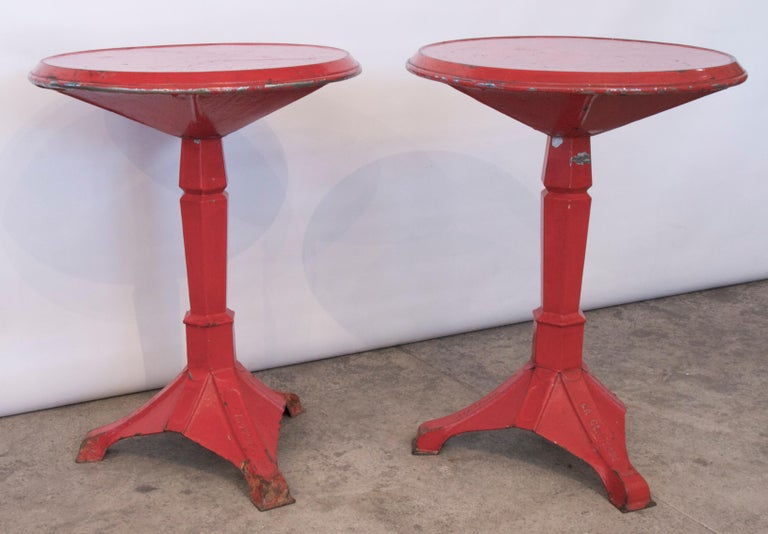 20th Century Pair of French Art Deco Period Painted Metal Bistro Tables For Sale