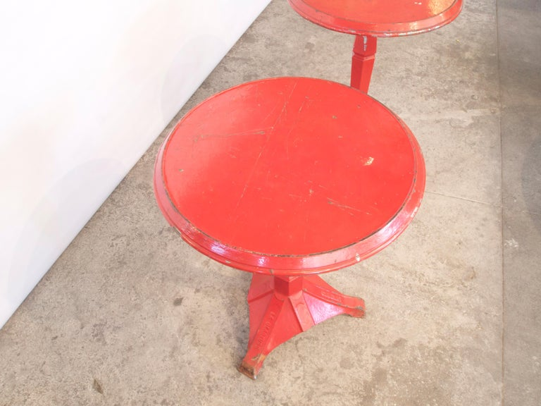 Pair of French Art Deco Period Painted Metal Bistro Tables For Sale 4