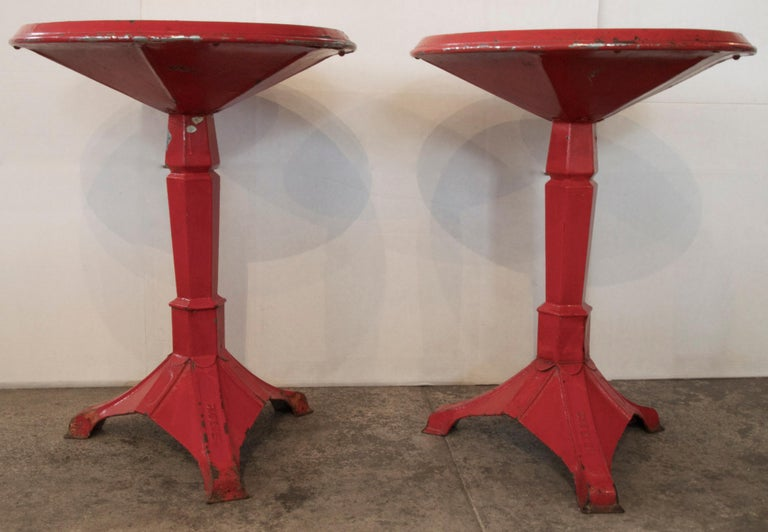 Pair of French Art Deco Period Painted Metal Bistro Tables For Sale 1