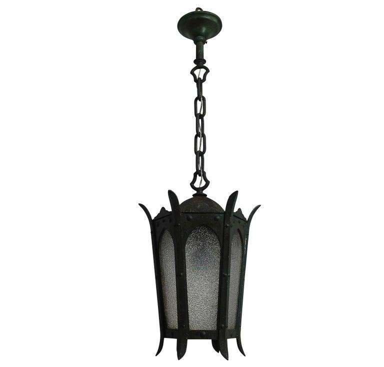 Green Cast Iron and Glass Pendant Lantern Light Fixture