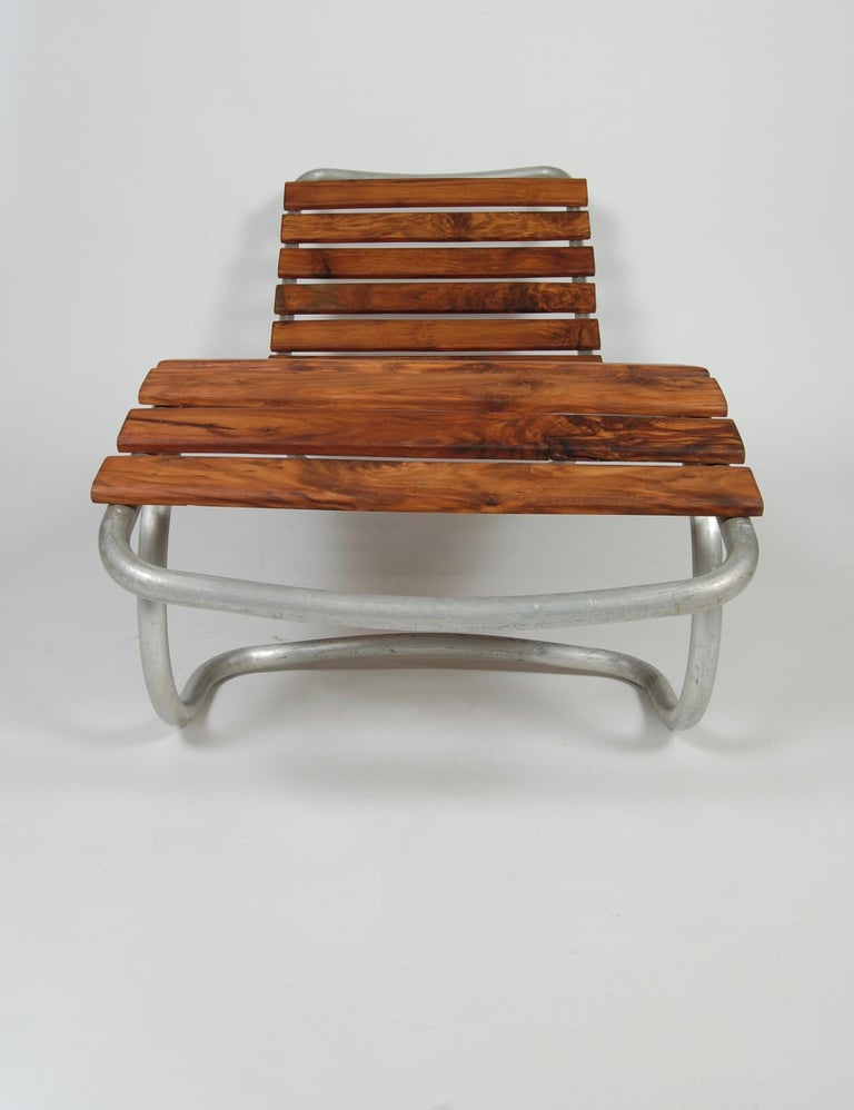 Modernist / Bauhaus Style Chaise in Aluminum and Claro Walnut In Good Condition For Sale In San Francisco, CA