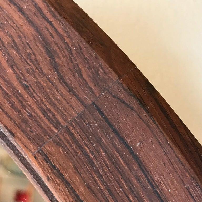 Hand-Crafted Round Danish Rosewood Mirror by Hans Gustav Ehrenreich For Sale