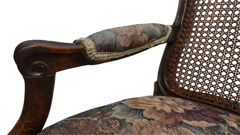Late 18th Century Pair of Regence Armchairs with Cane Seats and Backrests, 18th Century For Sale