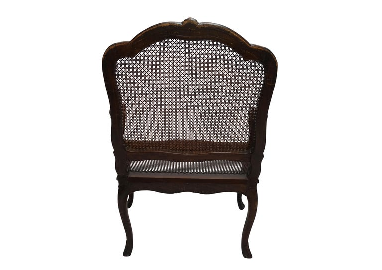 Pair of Regence Armchairs with Cane Seats and Backrests, 18th Century For Sale 2