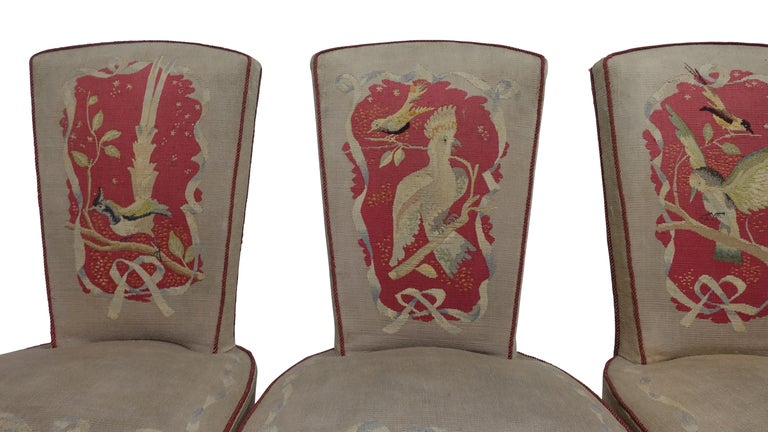 Set of Six French Art Deco Dining Chairs with Bird Scene Tapestry Upholstery In Good Condition For Sale In San Francisco, CA