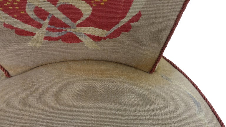 Set of Six French Art Deco Dining Chairs with Bird Scene Tapestry Upholstery For Sale 3