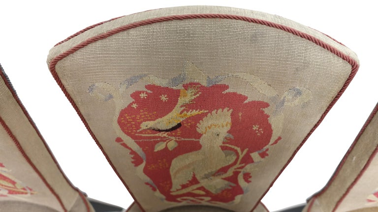 Set of Six French Art Deco Dining Chairs with Bird Scene Tapestry Upholstery For Sale 2