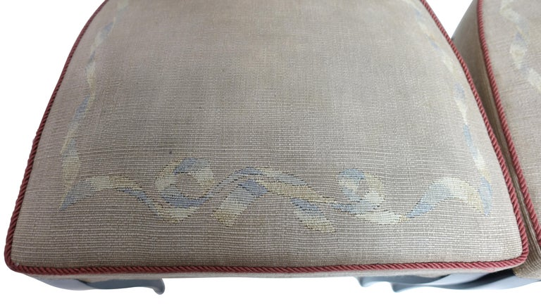 Set of Six French Art Deco Dining Chairs with Bird Scene Tapestry Upholstery For Sale 4