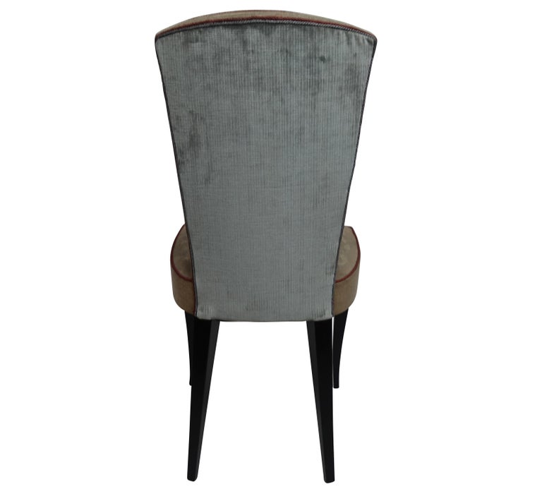 Set of Six French Art Deco Dining Chairs with Bird Scene Tapestry Upholstery For Sale 8