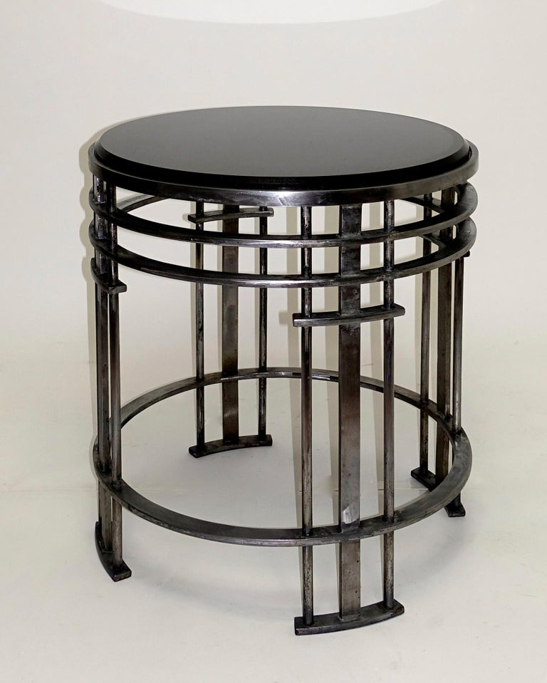 American Midcentury Round Steel Base and Black Granite Top Table For Sale 5