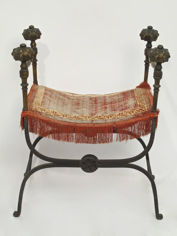 European Wrought Iron and Bronze Savonarola Curule Chair For Sale