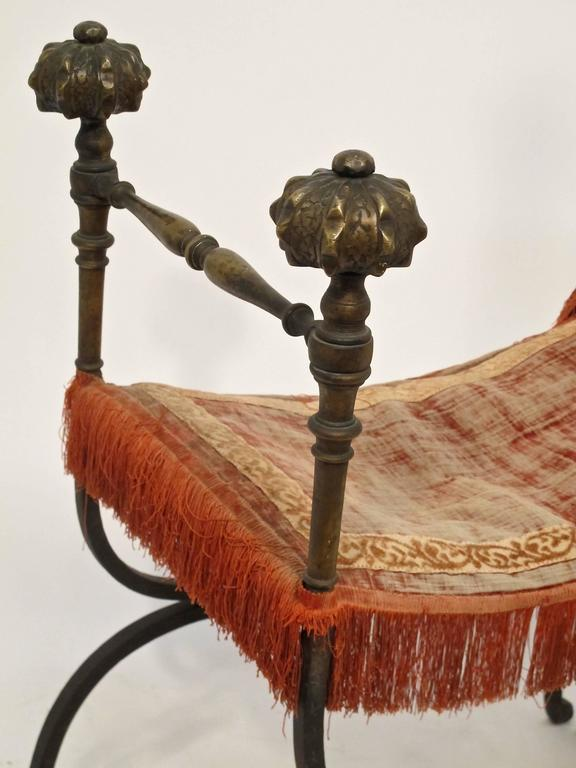 19th Century Wrought Iron and Bronze Savonarola Curule Chair For Sale