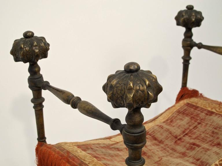 Wrought Iron and Bronze Savonarola Curule Chair In Excellent Condition For Sale In San Francisco, CA