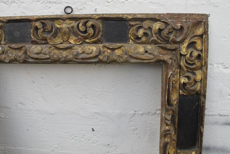 Wood Large Spanish Colonial Carved and Gilt Frame, 18th Century For Sale