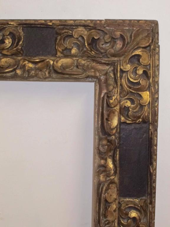 Baroque Large Spanish Colonial Carved and Gilt Frame, 18th Century For Sale