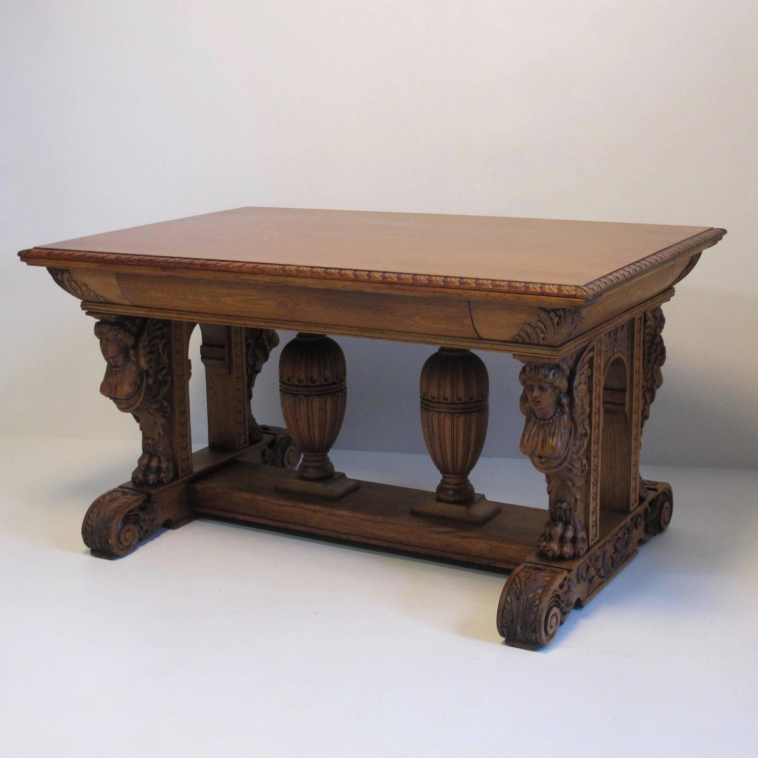 Wooden Library Furniture ~ Carved oak library table desk at stdibs
