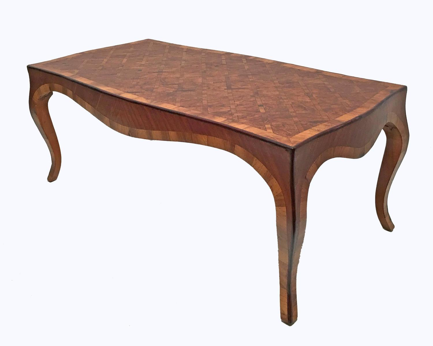 Inlaid Burl Wood Parquetry Cocktail Coffee Table Italian At 1stdibs